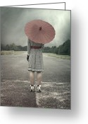 Gown Greeting Cards - Red Umbrella Greeting Card by Joana Kruse