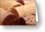 Cabernet Sauvignon Greeting Cards - Red Wine Corks Greeting Card by Frank Tschakert
