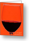 Food And Beverage Greeting Cards - Red Wine Glass Greeting Card by Frank Tschakert