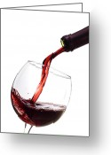 Wine Bottle Greeting Cards - Red Wine Poured into Wineglass Greeting Card by Dustin K Ryan