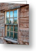 Window Panes Greeting Cards - Reflections of Time Greeting Card by Sandra Bronstein