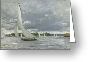 Ports Greeting Cards - Regatta at Argenteuil Greeting Card by Claude Monet