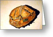 Baseball Mitt Greeting Cards - Regent Japan Greeting Card by Jame Hayes