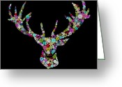 Paper Mixed Media Greeting Cards - Reindeer Design By Snowflakes Greeting Card by Setsiri Silapasuwanchai