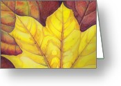 Autumn Leaves Pastels Greeting Cards - Releaf Greeting Card by Amy Tyler