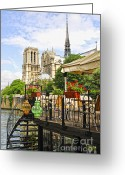 Notre Dame Greeting Cards - Restaurant on Seine Greeting Card by Elena Elisseeva
