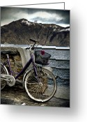 Sea Wall Greeting Cards - Retro Bike Greeting Card by Joana Kruse