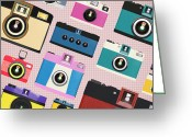 Photograph Digital Art Greeting Cards - Retro Camera Pattern Greeting Card by Setsiri Silapasuwanchai