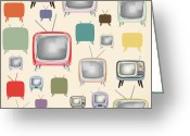 Old-fashion Digital Art Greeting Cards - retro TV pattern  Greeting Card by Setsiri Silapasuwanchai