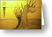 Dawn Drawings Greeting Cards - ..reunion... Greeting Card by Adolfo hector Penas alvarado