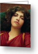 Pensive Greeting Cards - Reverie Greeting Card by John William Godward