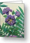 Flowers Glass Art Greeting Cards - Reverse Painted Carved Florals on Glass Greeting Card by Judy Via-Wolff