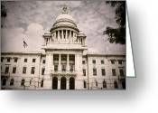 Cityhall Greeting Cards - RI State House Greeting Card by Lourry Legarde