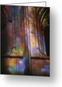 Washington Cathedral Greeting Cards - Rich Colors Projected From Stained Greeting Card by Stephen St. John