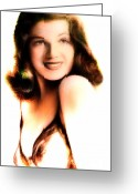 Hayworth Greeting Cards - Rita Hayworth Greeting Card by Arne Hansen