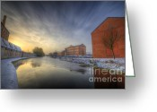 Sunset Framed Prints Greeting Cards - River Sunrise Greeting Card by Yhun Suarez