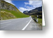 Long Street Greeting Cards - Road and mountain Greeting Card by Mats Silvan