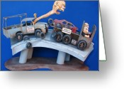 Whimsical Sculpture Greeting Cards - Road Rage Greeting Card by Stuart Swartz