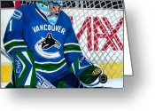 Roberto Greeting Cards - Roberto Luongo Greeting Card by Pj Artman 