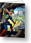 Outlaw Greeting Cards - Robin Hood Greeting Card by James Edwin McConnell