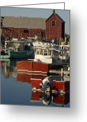 Row Boat Greeting Cards - Rockport Harbor With Lobster Fishing Greeting Card by Tim Laman