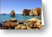 Caves Greeting Cards - Rocky coast Greeting Card by Carlos Caetano