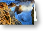 Surf Art La Jolla Digital Art Greeting Cards - Rocky Coast Greeting Card by Russ Harris