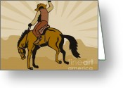 Stallion Greeting Cards - Rodeo Cowboy Bucking Bronco Greeting Card by Aloysius Patrimonio