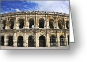 Exterior Buildings Greeting Cards - Roman arena in Nimes France Greeting Card by Elena Elisseeva