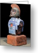 History Ceramics Greeting Cards - Roman Legionaire - Warrior - ancient Rome - Roemer - Romeinen - Antichi Romani - Romains - Romarere Greeting Card by Urft Valley Art