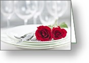 Plates Greeting Cards - Romantic dinner setting Greeting Card by Elena Elisseeva