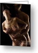 Covering Greeting Cards - Romantic Nude Couple Making Love Greeting Card by Oleksiy Maksymenko