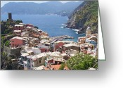 Village Greeting Cards - Rooftops of Vernazza Cinque Terre Italy Greeting Card by Marilyn Dunlap