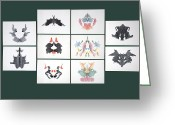 Psychology Greeting Cards - Rorschach Inkblot Test Greeting Card by Sheila Terry