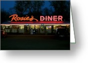 Parking Lot Greeting Cards - Rosies Diner Greeting Card by Odd Jeppesen