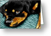 Sleeping Dog Greeting Cards - Rotty Greeting Card by Peter Piatt
