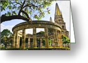 Christian Sacred Greeting Cards - Rotunda of Illustrious Jalisciences and Guadalajara Cathedral Greeting Card by Elena Elisseeva