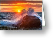 New England Sunset Greeting Cards - Rough Sea Greeting Card by Bill  Wakeley