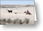 Idaho Artist Greeting Cards - Round Up Greeting Card by Cindy Singleton