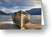 Mountains Greeting Cards - Rowing boat on Lake Maggiore Greeting Card by Joana Kruse