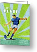 Featured Greeting Cards - Rugby Player Kicking The Ball Greeting Card by Aloysius Patrimonio