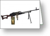 Gun Barrel Greeting Cards - Russian Pkm General-purpose Machine Gun Greeting Card by Andrew Chittock