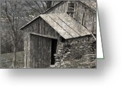 Dilapidated Greeting Cards - Rustic Hillside Barn Closeup Greeting Card by John Stephens