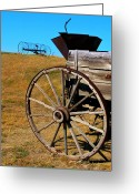 Prairie Sky Art Greeting Cards - Rustic wagon Greeting Card by Perry Webster