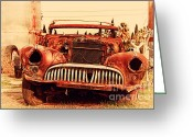 Old Postcards Greeting Cards - Rusty Old American Car . 7D10343 Greeting Card by Wingsdomain Art and Photography