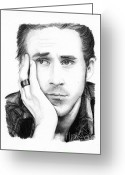 Ryan Greeting Cards - Ryan Gosling Greeting Card by Rosalinda Markle