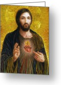 Savior Painting Greeting Cards - Sacred Heart of Jesus Greeting Card by Smith Catholic Art