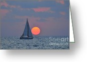 Boats Greeting Cards - Sailboat at sunset  Greeting Card by Shay Levy