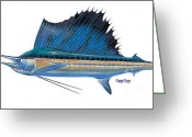 Mako Shark Greeting Cards - Sailfish Greeting Card by Carey Chen