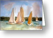 Sky Painting Greeting Cards - Sailing  Greeting Card by Julie Lueders 
